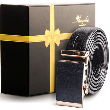 Amedeo Exclusive Men's Stainless Steel Black Belt - Gold & Black Buckle