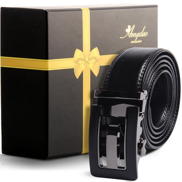 Amedeo Exclusive Men's Stainless Steel Black Belt - Gun Metal Black Buckle