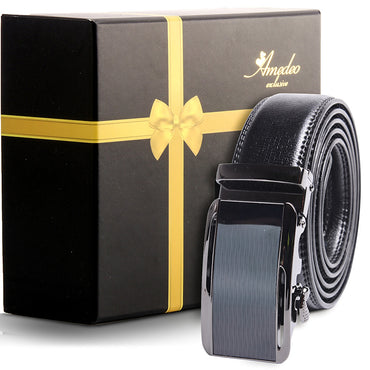 Amedeo Exclusive Men's Stainless Steel Black Belt - Black Buckle