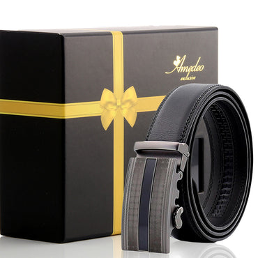 Amedeo Exclusive Black Belt - Black Buckle Leather