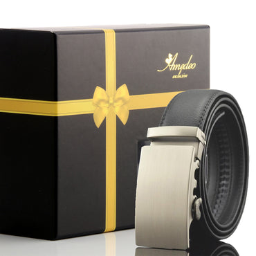 Amedeo Exclusive Black Belt - Silver Buckle Leather