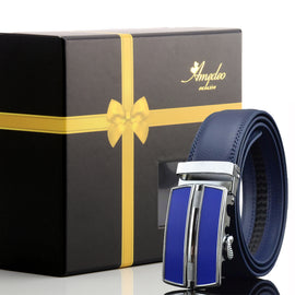 Men's Blue Belt-Blue Buckle Leather Automatic Belts