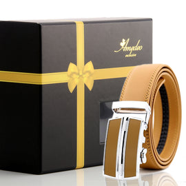 Men's Black Belt-Tan & Silver Buckle Leather Automatic Belts