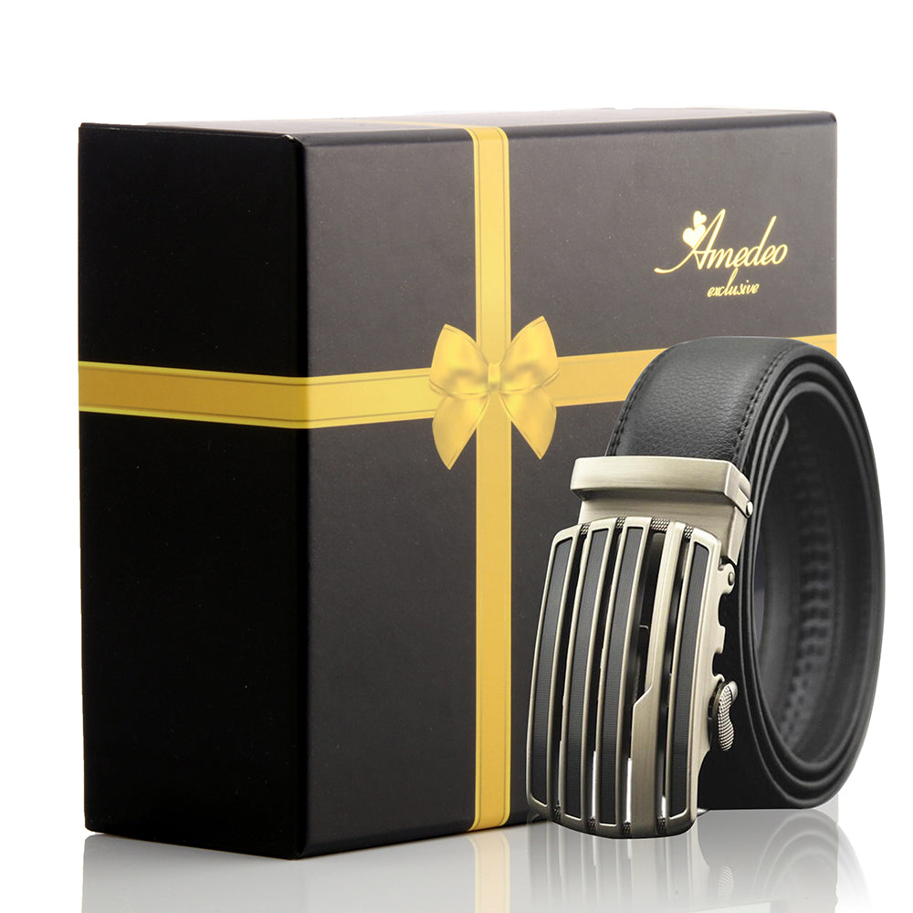 Black Belt-Silver & Black Buckle Leather Automatic Belts