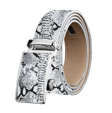 Men's Stainless Steel Snake Skin - White Buckle Belt - Amedeo Exclusive