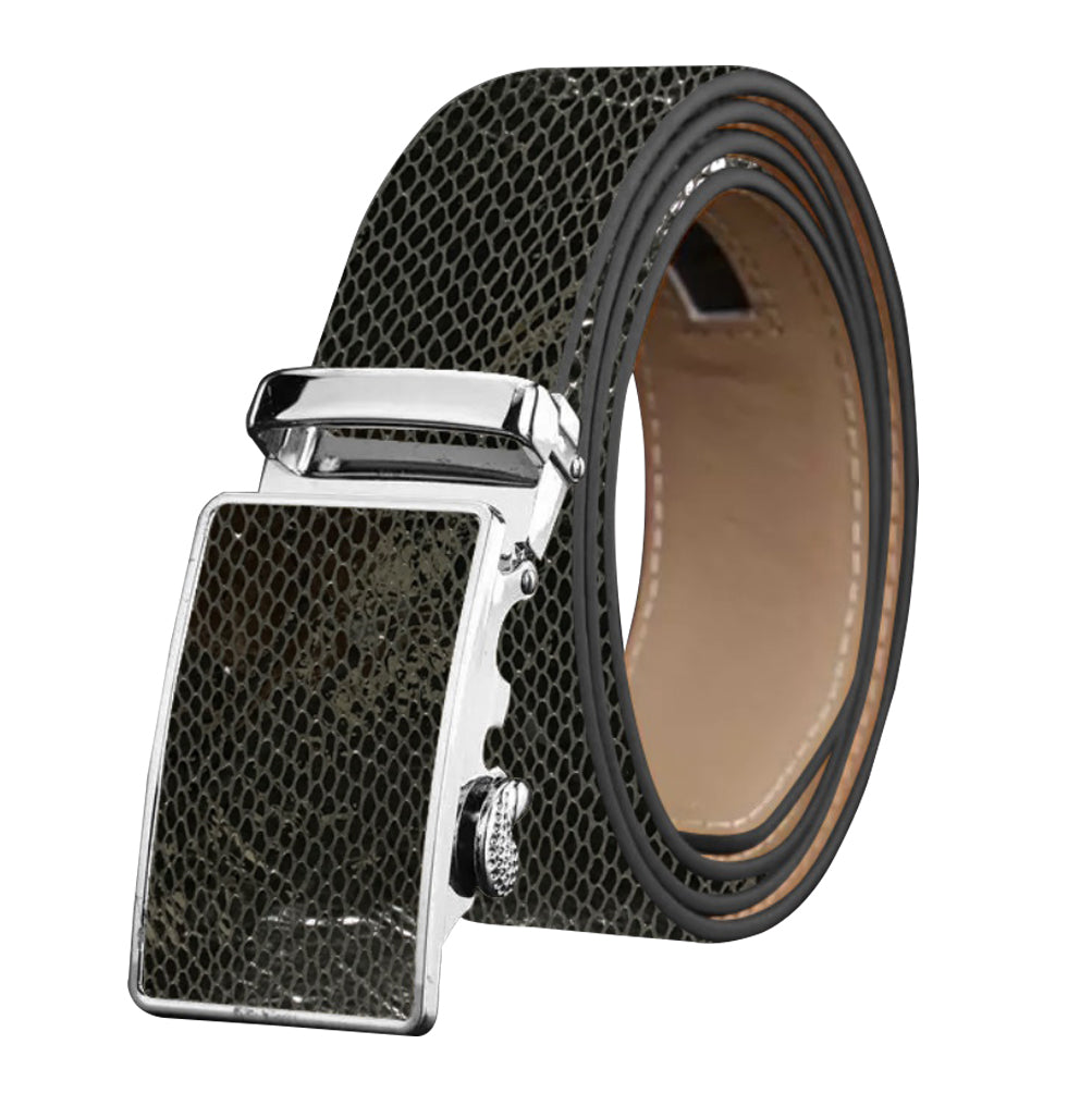 Men's Smart Ratchet No Holes Automatic Buckle Belt in Snake Skin - Black Color - Amedeo Exclusive
