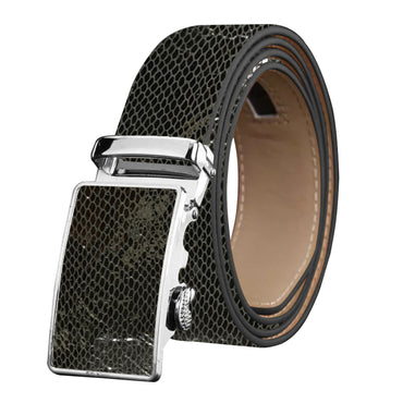 Men's Stainless Steel Snake Skin - Black  Buckle Belt - Amedeo Exclusive