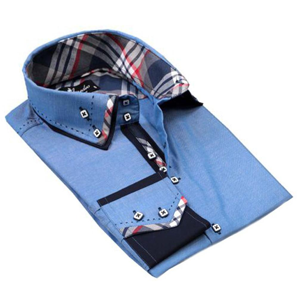 Black & Light Blue Mens Slim Fit Designer Dress Shirt - tailored Cotton Shirts for Work and Casual Wear - Amedeo Exclusive