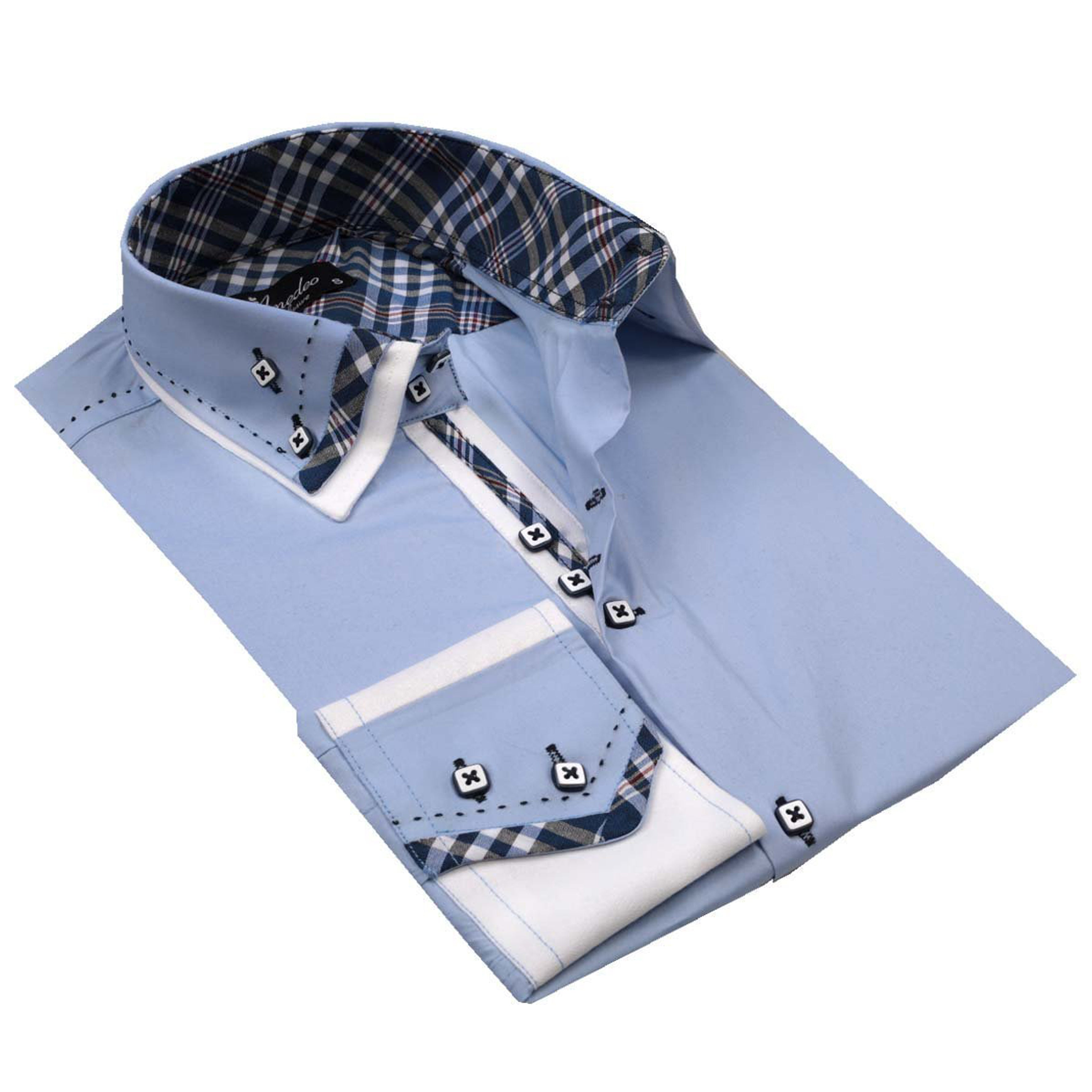 Light Blue Plaid Mens Slim Fit Designer Dress Shirt - tailored Cotton Shirts for Work and Casual Wear - Amedeo Exclusive