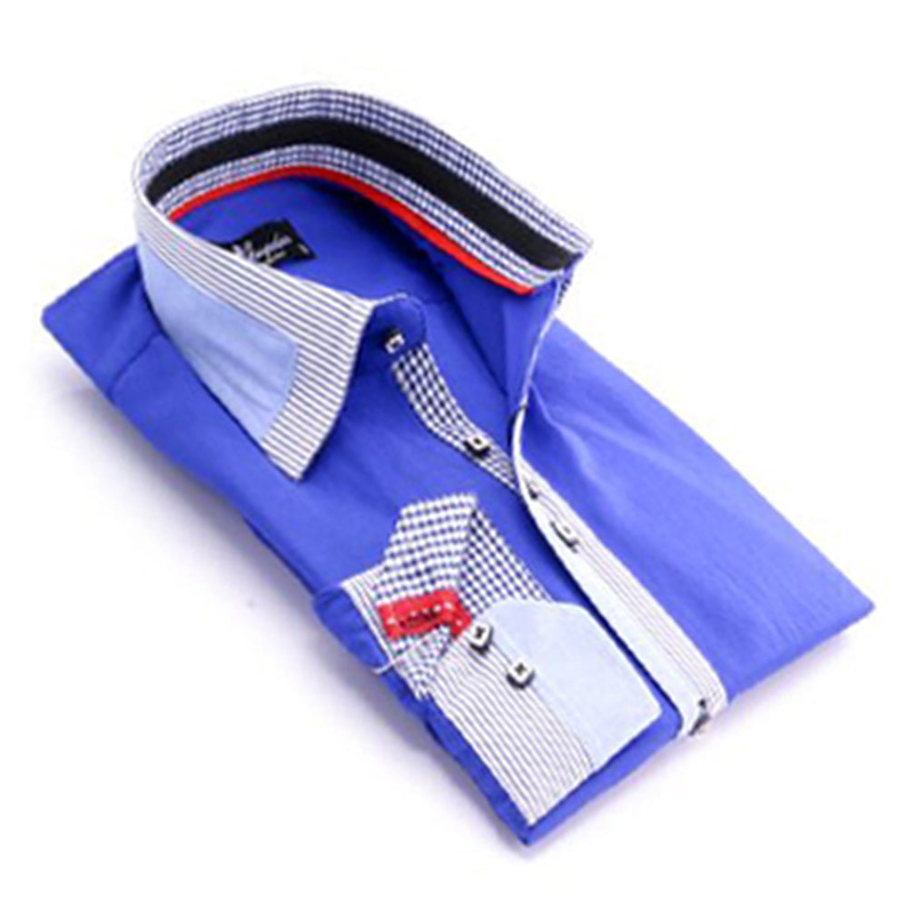 Checkered Blue Mens Slim Fit Designer Dress Shirt - tailored Cotton Shirts for Work and Casual Wear - Amedeo Exclusive