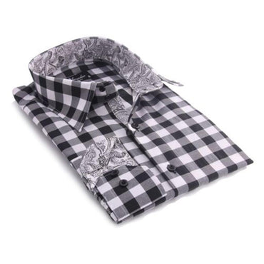 Black & White Check Mens Slim Fit Designer Dress Shirt - tailored Cotton Shirts for Work and - Amedeo Exclusive