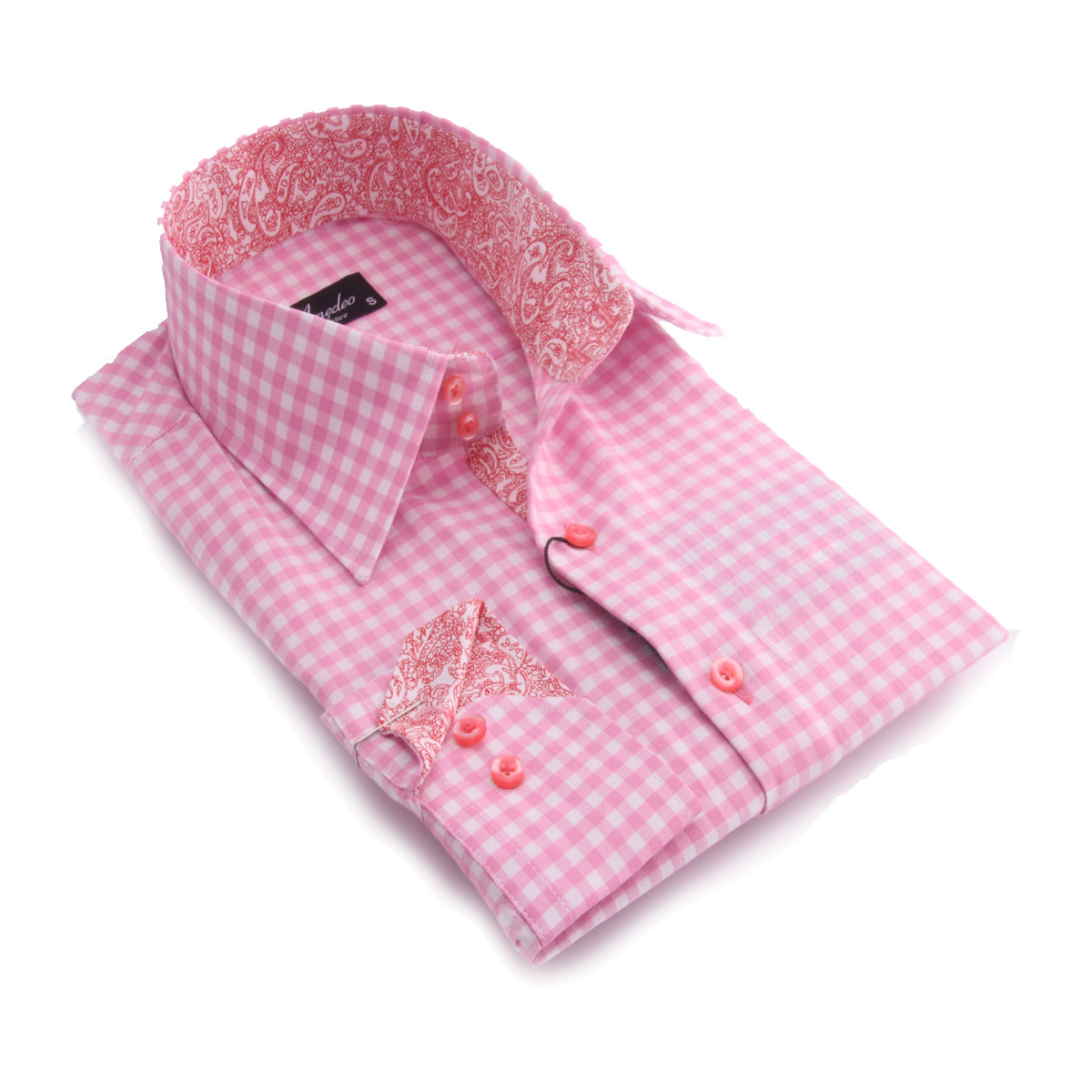 Mens Pink and White Check with Paisley Reversible Cuff Button Down Shirt Made with 100% Cotton - Amedeo Exclusive
