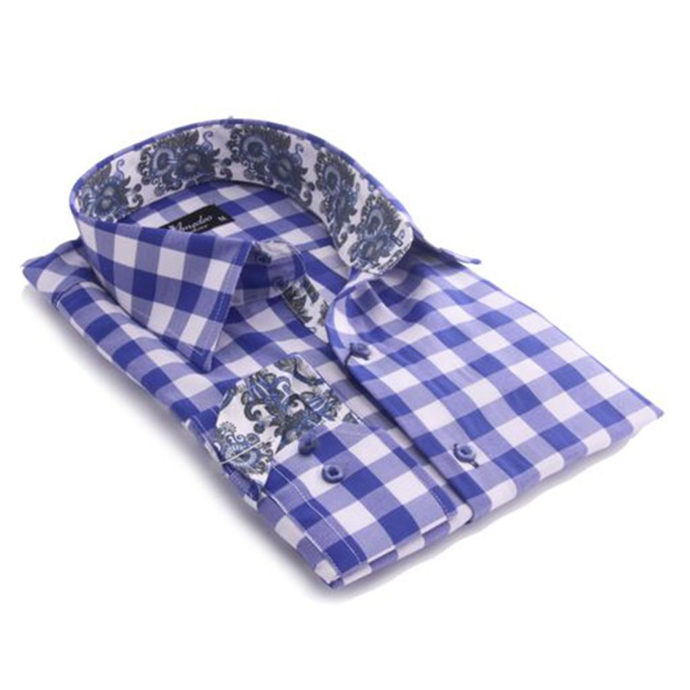 Mens Blue & White Check with Colorful Paisley Reversible Cuff Button Down Shirt Made with 100% Cotton - Amedeo Exclusive