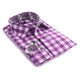 Men's European Reversible Tailor Fit Button Down Dress shirt Purple & White Check with Colorful Paisley 100% Cotton - Amedeo Exclusive