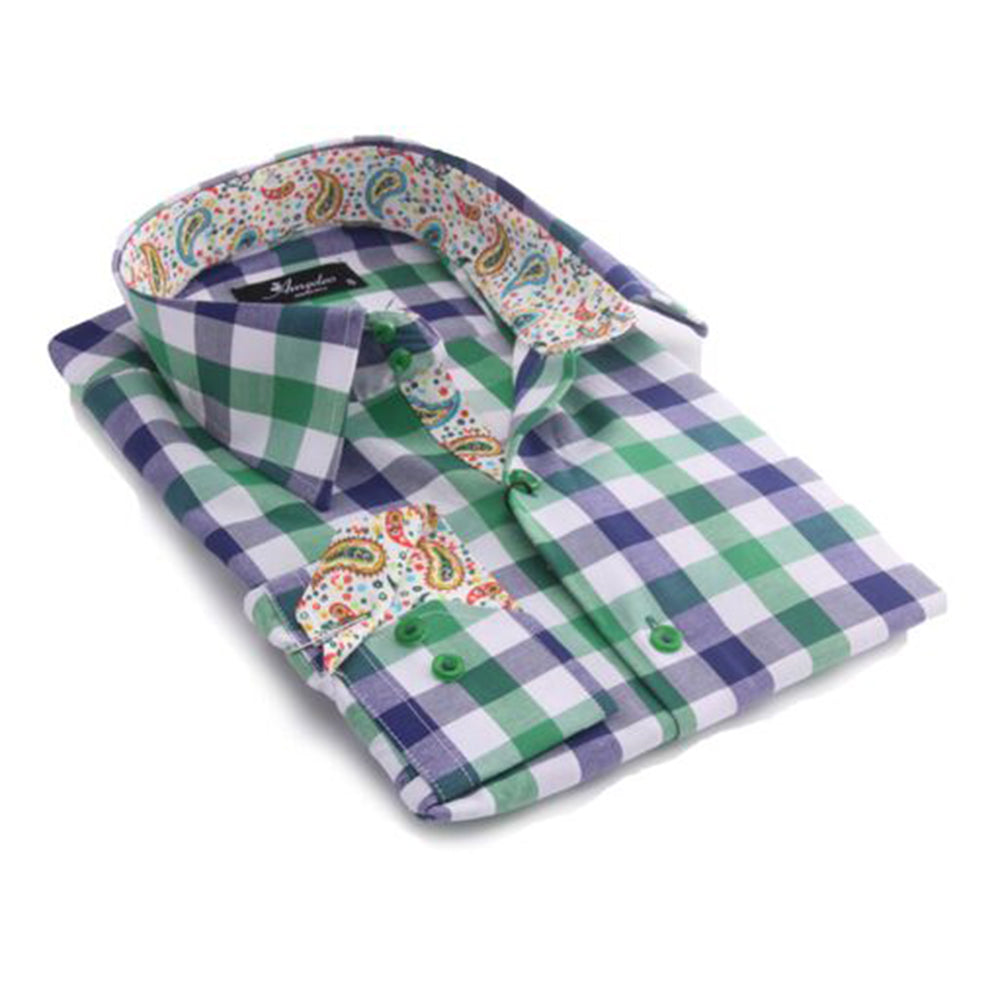 Mens Green Check with Colorful Paisley Reversible Cuff Button Down Shirt Made with 100% Cotton - Amedeo Exclusive