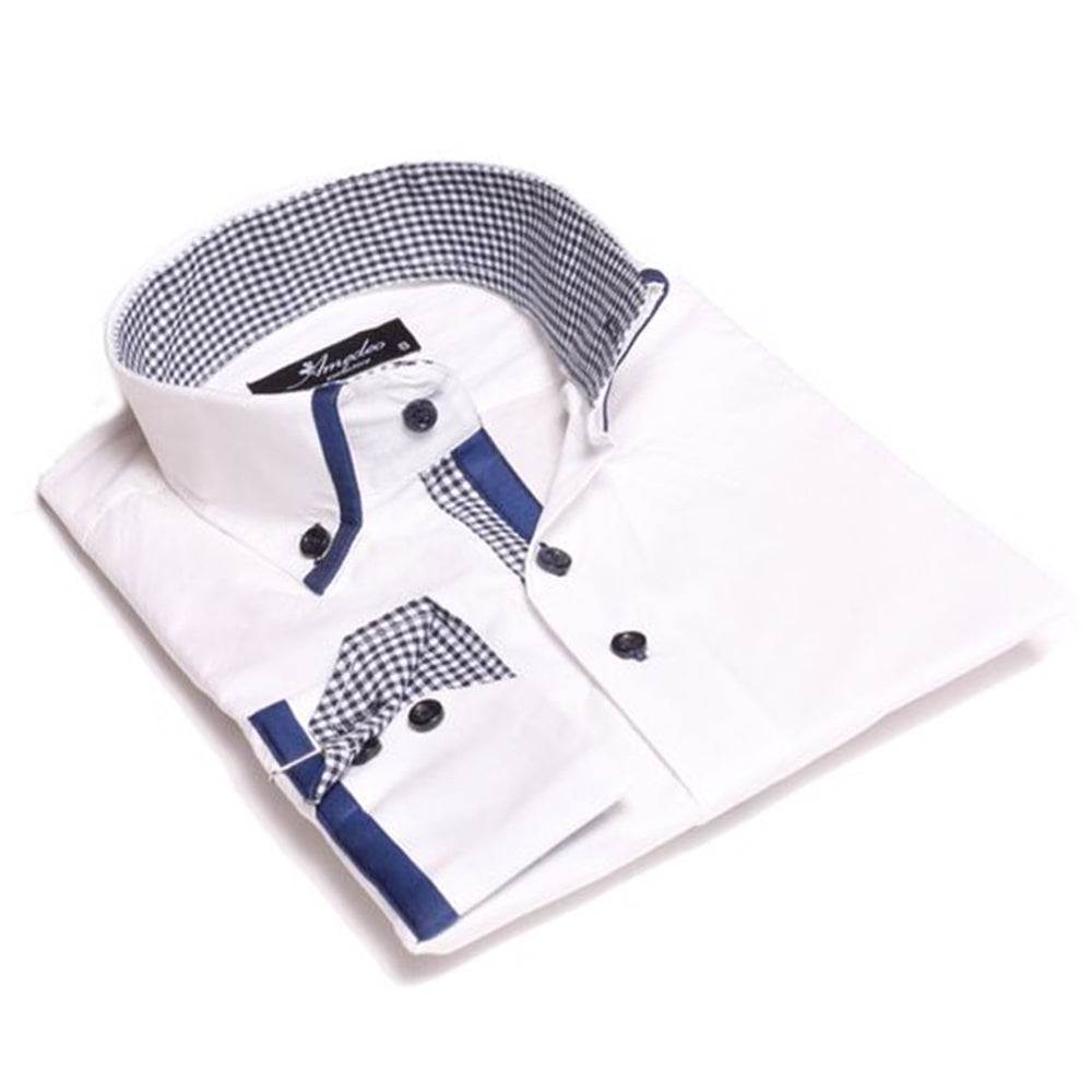 Mens White Blue Check Reversible Cuff Button Down Shirt Made with 100% Cotton - Amedeo Exclusive