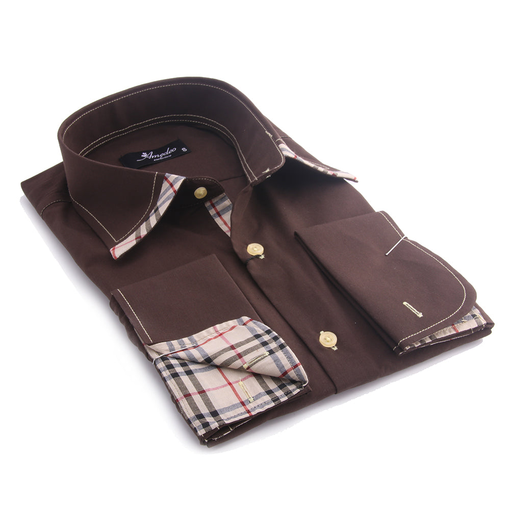 Dark Brown with Brown Plaid Men's Dress Shirt, Button Down Slim Fit With French Cuff Casual And Formal
