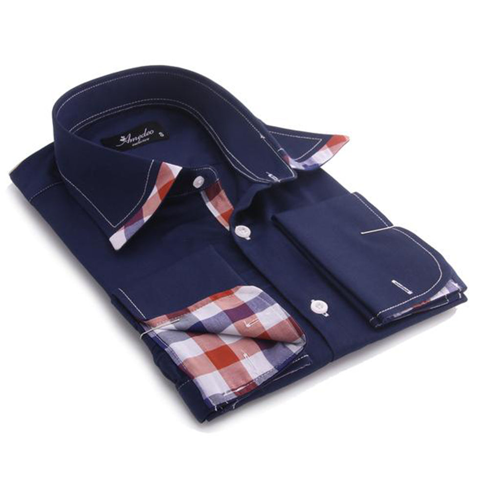Navy Blue with Colorful Check Men's Dress Shirt, Button Down Slim Fit With French Cuff Casual And Formal