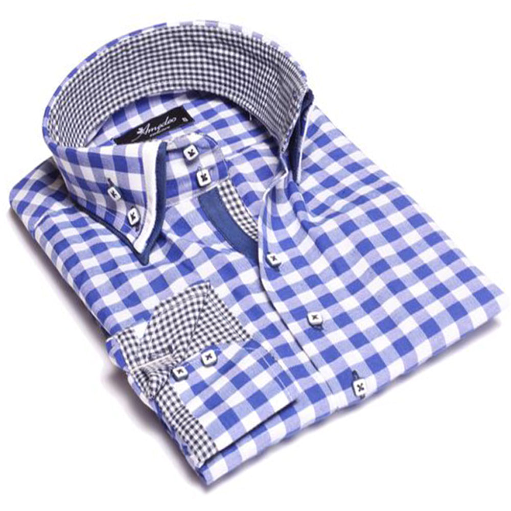 Men's European Reversible Tailor Fit Button Down Dress shirt Checkered Blue & White 100% Cotton - Amedeo Exclusive