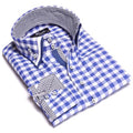 Mens Button Down Slim Fit Dress Shirt With Reversible Cuff In Checkered Blue & White Casual And Formal
