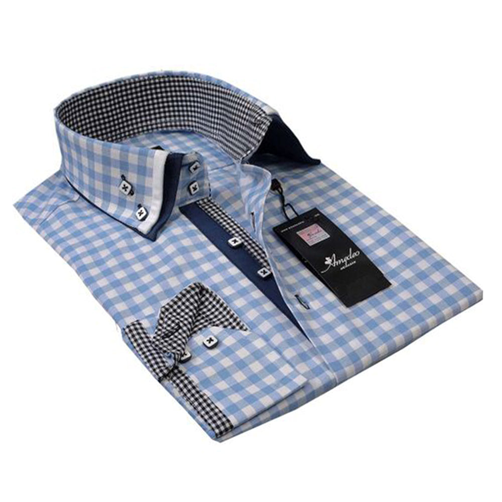Light Blue Checkered Mens Slim Fit Designer Dress Shirt - tailored Cotton Shirts for Work and Casual - Amedeo Exclusive