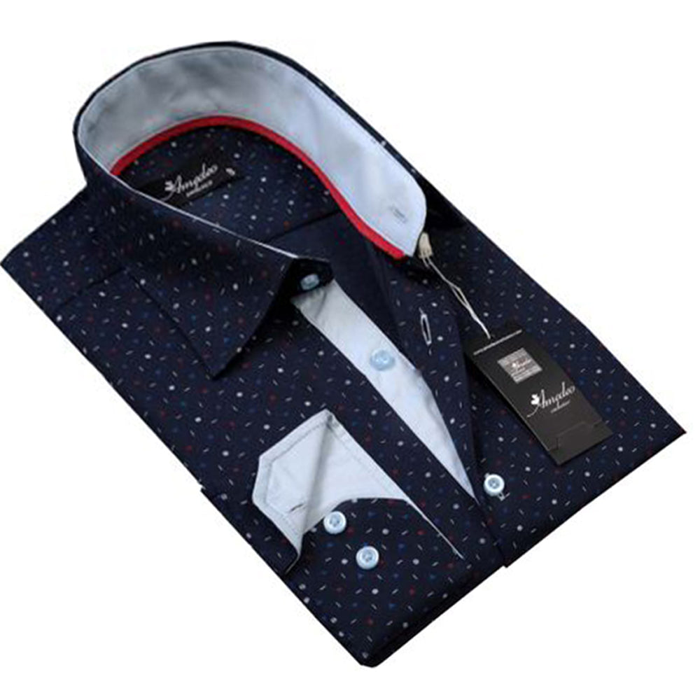 Amedeo Exclusive Men's Navy Blue Polka Dot Button Down Dresses Shirt