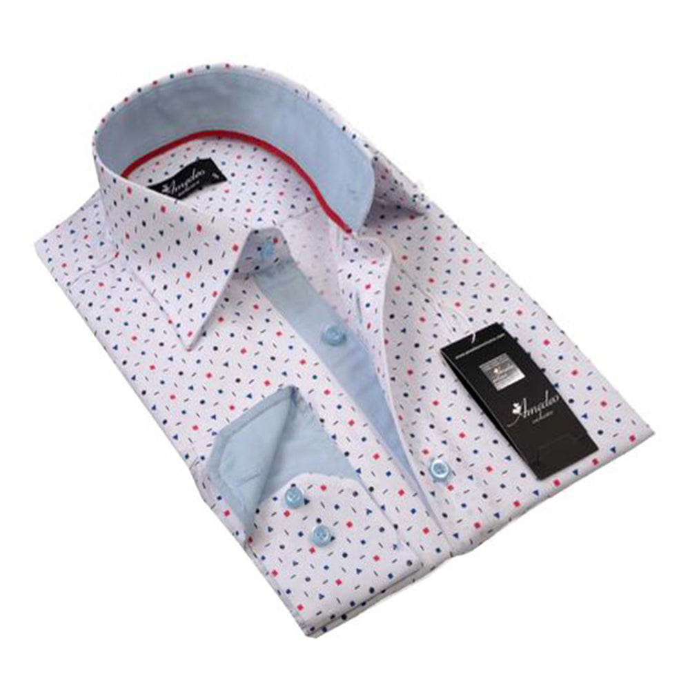 Mens Button Down Slim Fit Dress Shirt With Reversible Cuff In White Polka Dot Casual And Formal