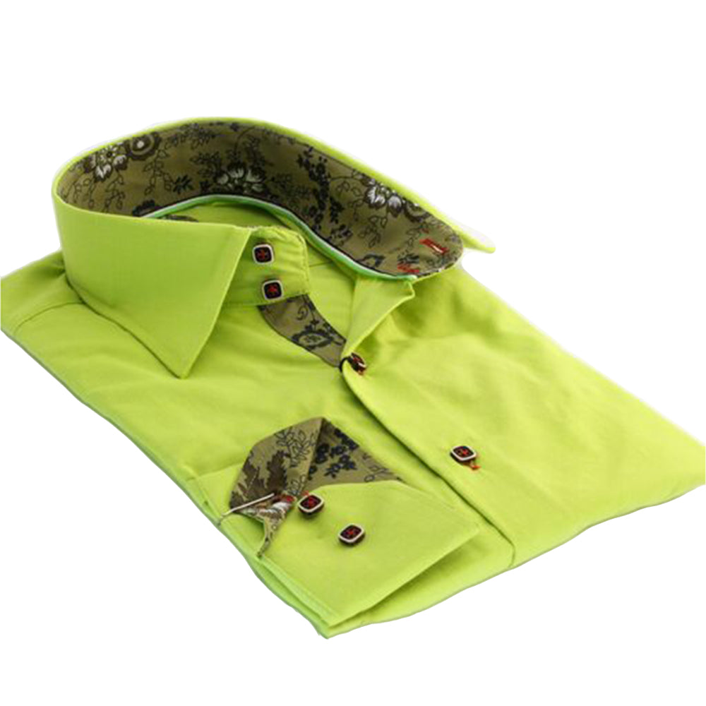 Fluorescent Green Mens Slim Fit Designer Dress Shirt - tailored Cotton Shirts for Work and Casual - Amedeo Exclusive