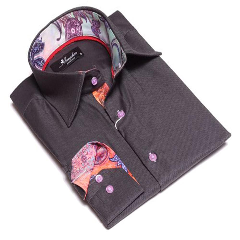 Mens Button Down Slim Fit Dress Shirt With Reversible Cuff In Black Parrot Colorful Paisley Casual And Formal