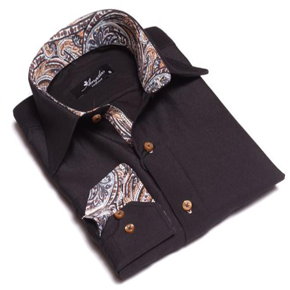 Men's European Reversible Tailor Fit Button Down Dress shirt Black with Tan Paisley 100% Cotton - Amedeo Exclusive