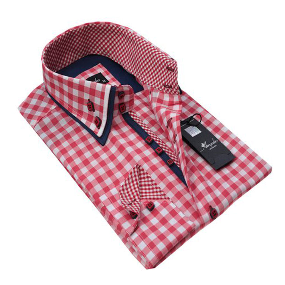 Mens Button Down Slim Fit 100% Cotton Summer Dress Shirt With Reversible Cuff In Red White Checkered Casual And Formal