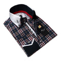 Navy Blue Plaid Mens Slim Fit Designer Dress Shirt - tailored Cotton Shirts for Work and Casual Wear - Amedeo Exclusive