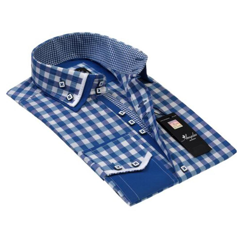 Mens Button Down Slim Fit Dress Shirt With Reversible Cuff In Blue White Checkers Casual And Formal