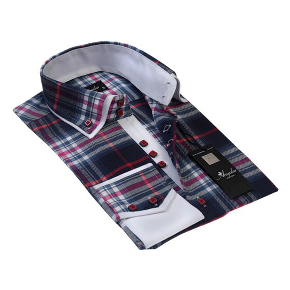 Mens Button Down Slim Fit 100% Cotton Summer Dress Shirt With Reversible Cuff In Colorful Nova Check Casual And Formal
