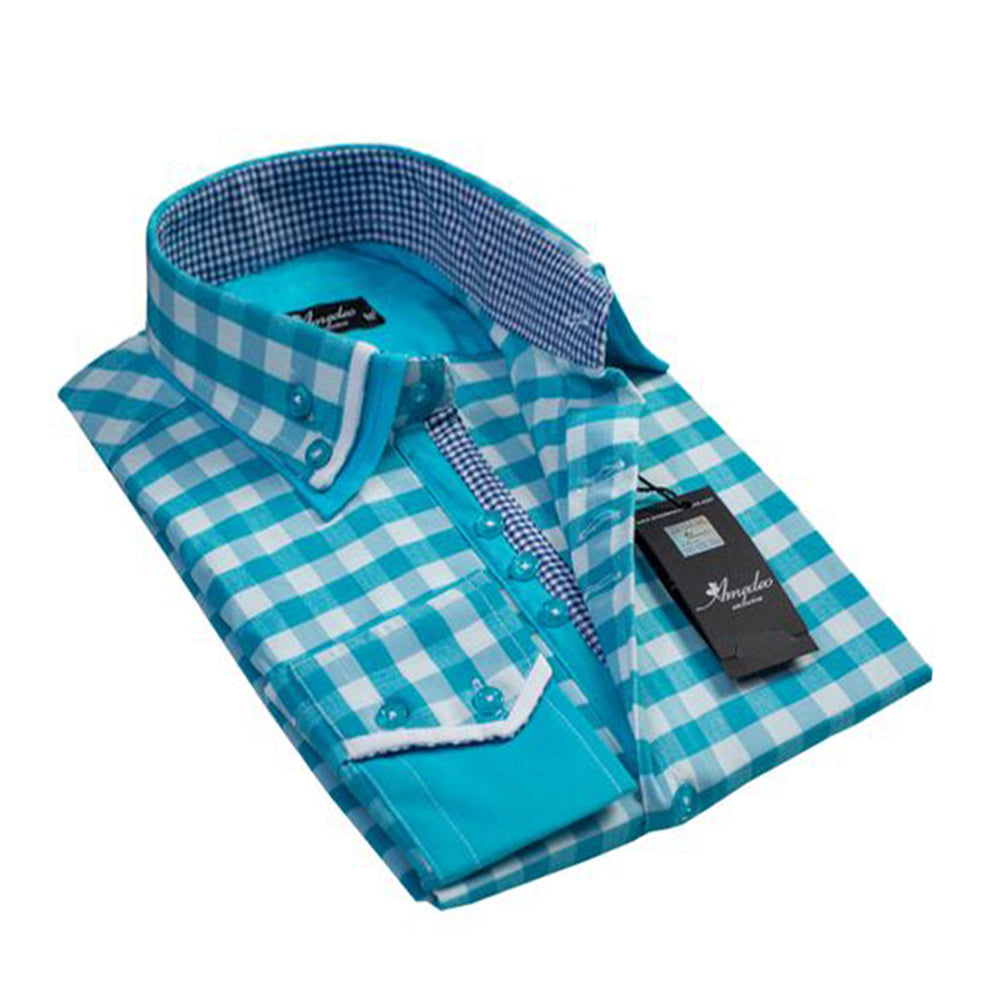 Mens Button Down Slim Fit Dress Shirt With Reversible Cuff In Turquoise Blue White Check Casual And Formal