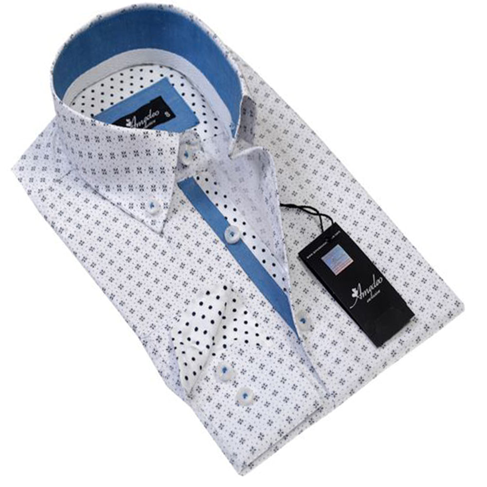 Mens Button Down Slim Fit 100% Cotton Summer Dress Shirt With Reversible Cuff In White Black Polka Dot Casual And Formal