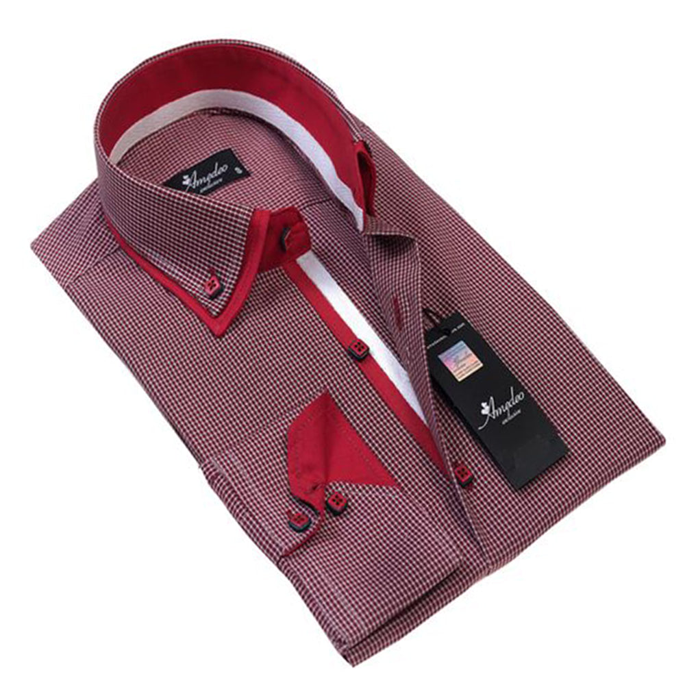 Men's European Reversible Tailor Fit Button Down Dress shirt Red Checkers 100% Cotton - Amedeo Exclusive