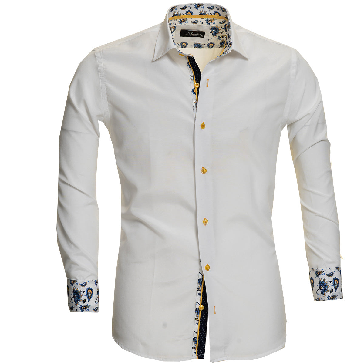 White Mens Slim Fit Designer Dress Shirt - Tailored Cotton Shirts For Work And Casual