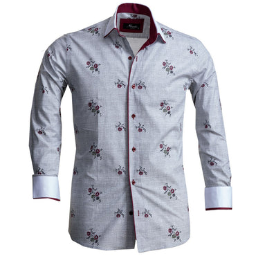 Men's European Reversible Tailor Fit Button Down Dress shirt Grey Floral 100% Cotton - Amedeo Exclusive