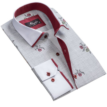 Men's Grey Floral Reversible Cuff Button Down Shirt Made with 100% Cotton - Amedeo Exclusive