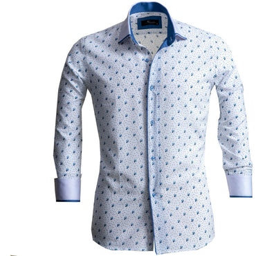 Men's White + Light Blue Reversible Cuff Button Down Shirt Made with 100% Cotton - Amedeo Exclusive