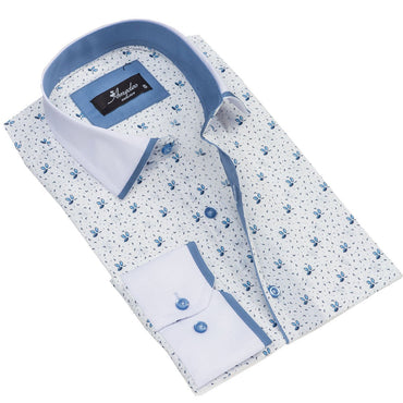 Men's European Reversible Tailor Fit Button Down Dress shirt White + Light Blue 100% Cotton - Amedeo Exclusive