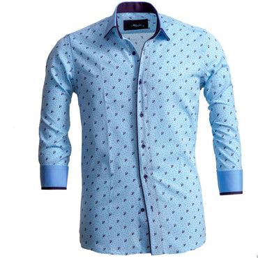 Men's European Reversible Tailor Fit Button Down Dress shirt Light Blue & Purple 100% Cotton - Amedeo Exclusive