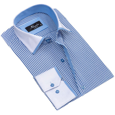 Men's European Reversible Tailor Fit Button Down Dress shirt White + Blue Lines 100% Cotton - Amedeo Exclusive