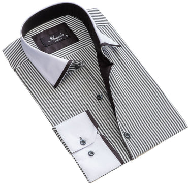 Men's European Reversible Tailor Fit Button Down Dress shirt White + Grey lines 100% Cotton - Amedeo Exclusive