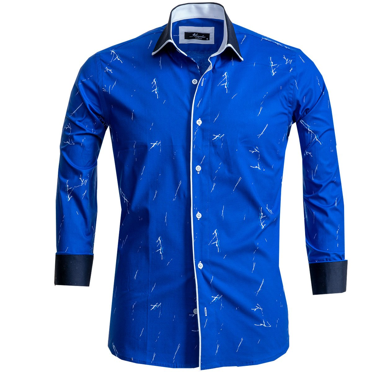 Medium Blue Mens Slim Fit Designer Dress Shirt - tailored Cotton Shirts for Work and Casual Wear - Amedeo Exclusive