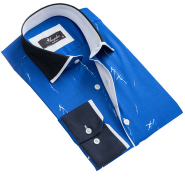 Men's European Reversible Tailor Fit Button Down Dress shirt Medium Blue 100% Cotton - Amedeo Exclusive