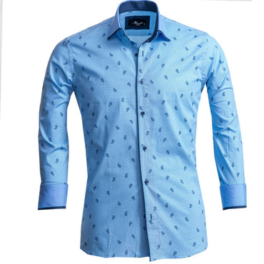 Men's European Reversible Tailor Fit Button Down Dress shirt Light Blue Paisley 100% Cotton - Amedeo Exclusive