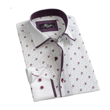 Mens Button Down Slim Fit 100% Cotton Summer Dress Shirt With Reversible Cuff In White Purple Long sleeve Casual And Formal