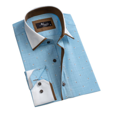 Mens Button Down Slim Fit 100% Cotton Summer Dress Shirt With Reversible Cuff In Light Blue Long sleeve Casual And Formal